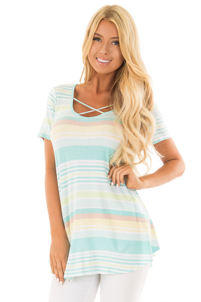 Mint Striped Criss Cross V Neck Short Sleeve Tee front close up