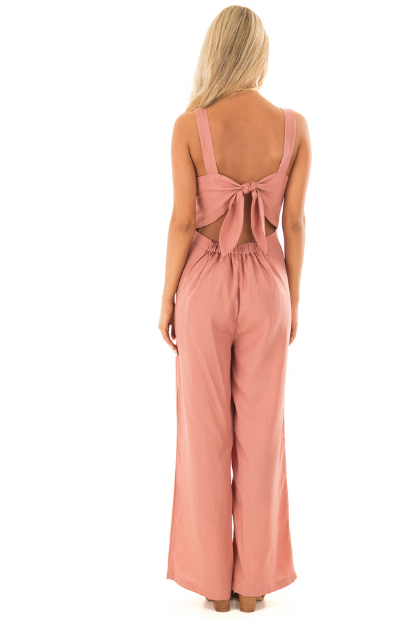 Mauve Button Up Jumpsuit with Open Tie Back back full body