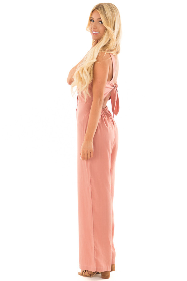 Mauve Button Up Jumpsuit with Open Tie Back side full body