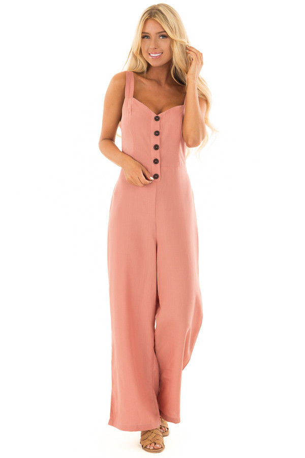 Mauve Button Up Jumpsuit with Open Tie Back front full body