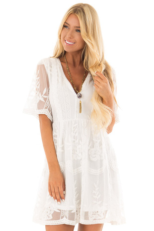 White Detailed Lace Dress with Sheer Back and Sleeves front close up