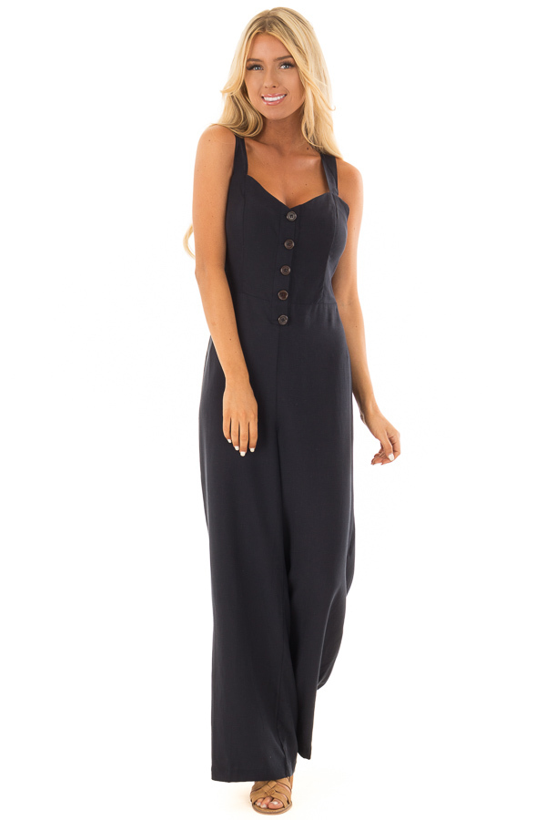 Navy Button Up Jumpsuit with Open Tie Back front full body