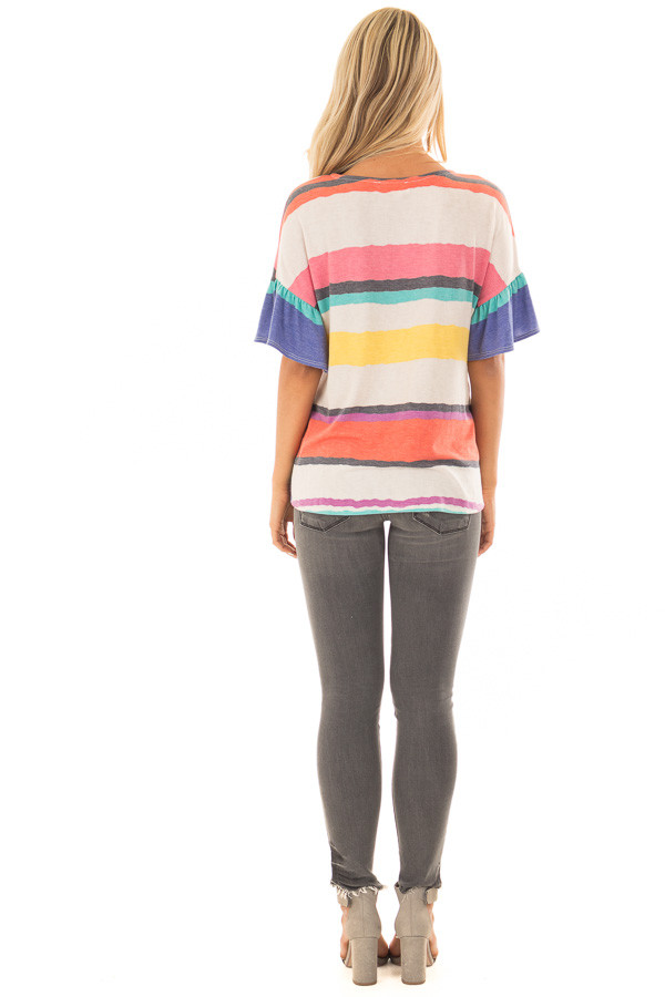 Multicolor Striped Tee Shirt with Front Tie back full body