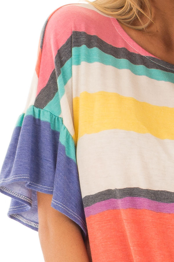 Multicolor Striped Tee Shirt with Front Tie detail