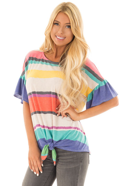 Multicolor Striped Tee Shirt with Front Tie front close up