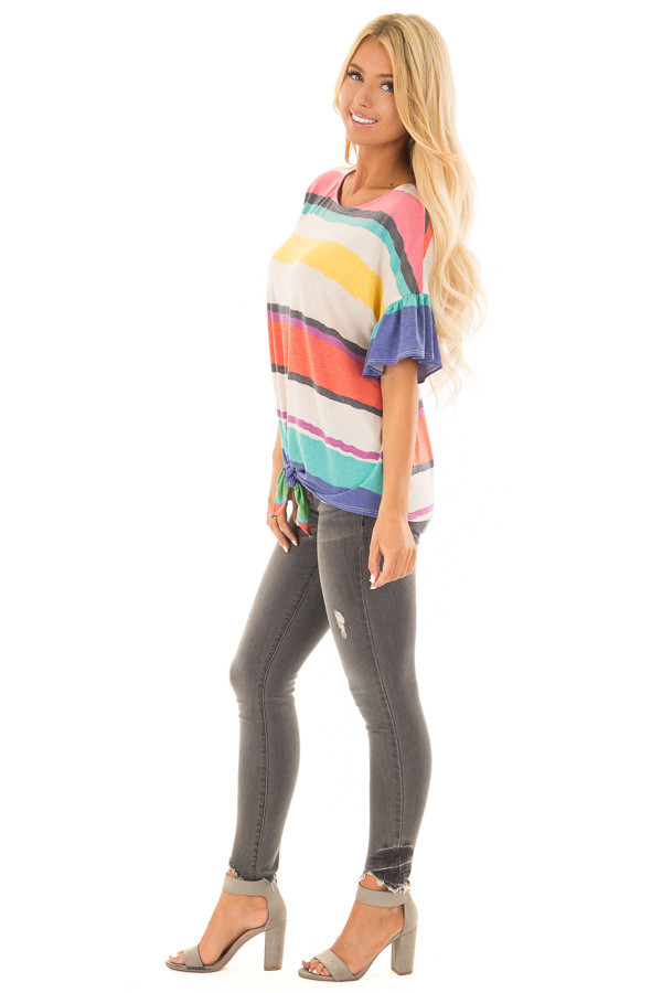 Multicolor Striped Tee Shirt with Front Tie side full body