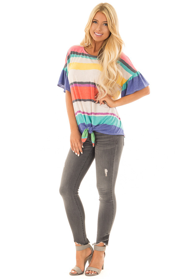 Multicolor Striped Tee Shirt with Front Tie front full body