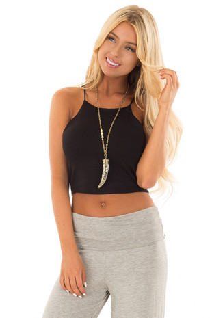Black High Neck Cropped Tank Top front close up