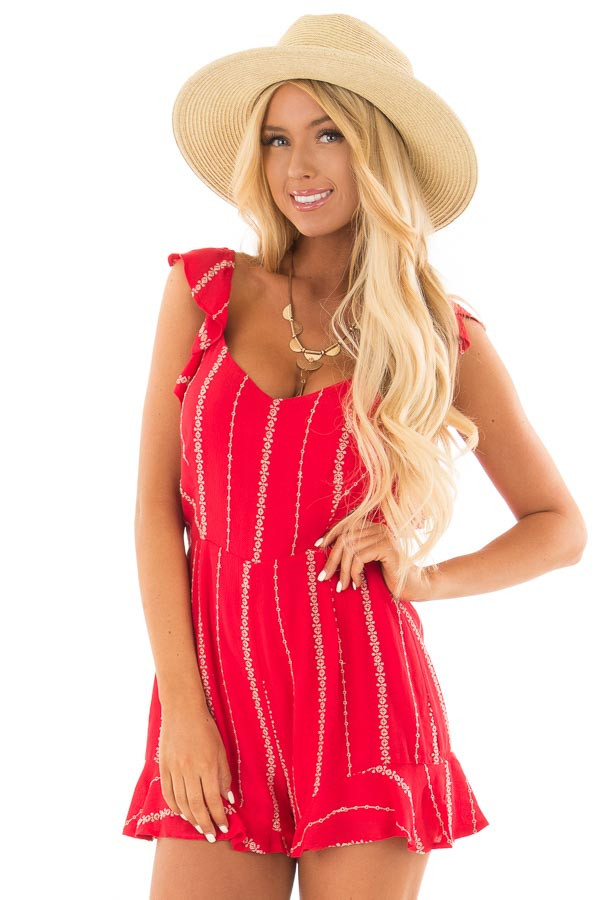 Lipstick Red Open Back Romper with Taupe Stitch Detail front close up