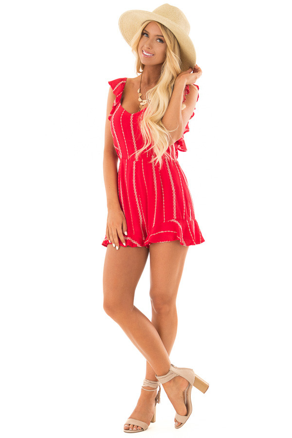 Lipstick Red Open Back Romper with Taupe Stitch Detail front full body