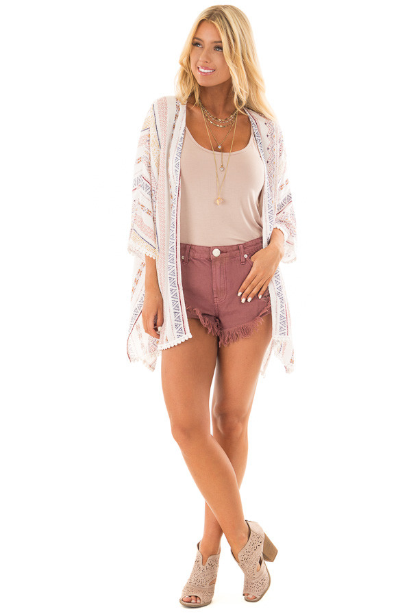 White Patterned Kimono with Crochet Trim front full body