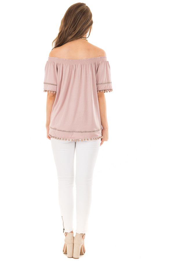Dusty Mauve Off the Shoulder Top with Pom Pom Trim back full body