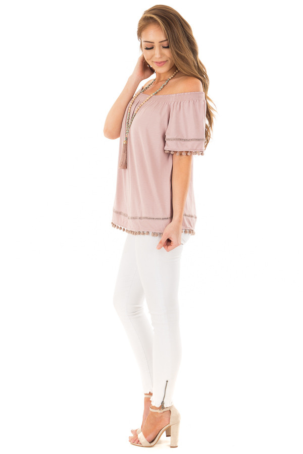Dusty Mauve Off the Shoulder Top with Pom Pom Trim side full body