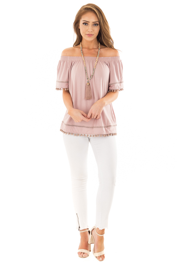 Dusty Mauve Off the Shoulder Top with Pom Pom Trim front full body