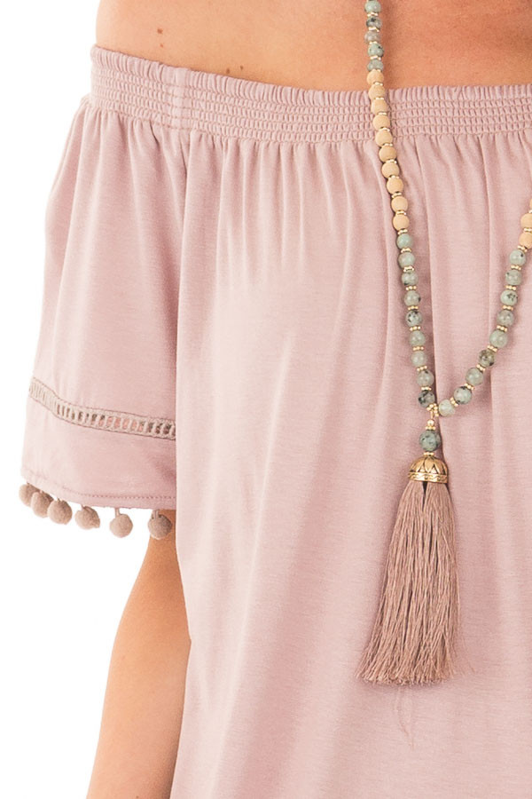 Dusty Mauve Off the Shoulder Top with Pom Pom Trim detail