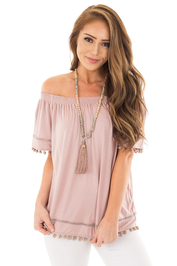 Dusty Mauve Off the Shoulder Top with Pom Pom Trim front close up