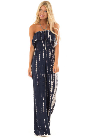Navy Tie Dye Strapless Jumpsuit front full body