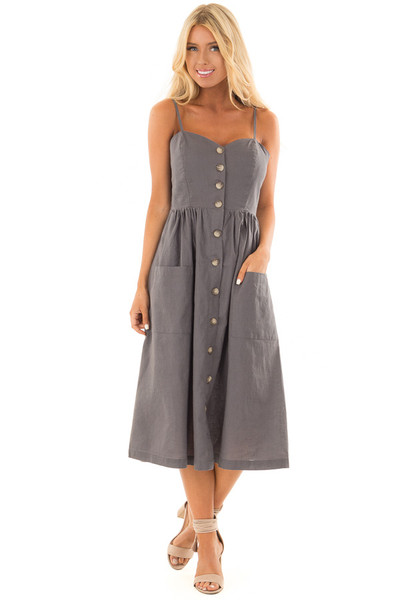 Slate Sleeveless Button Up Dress with Sweetheart Neckline front close up