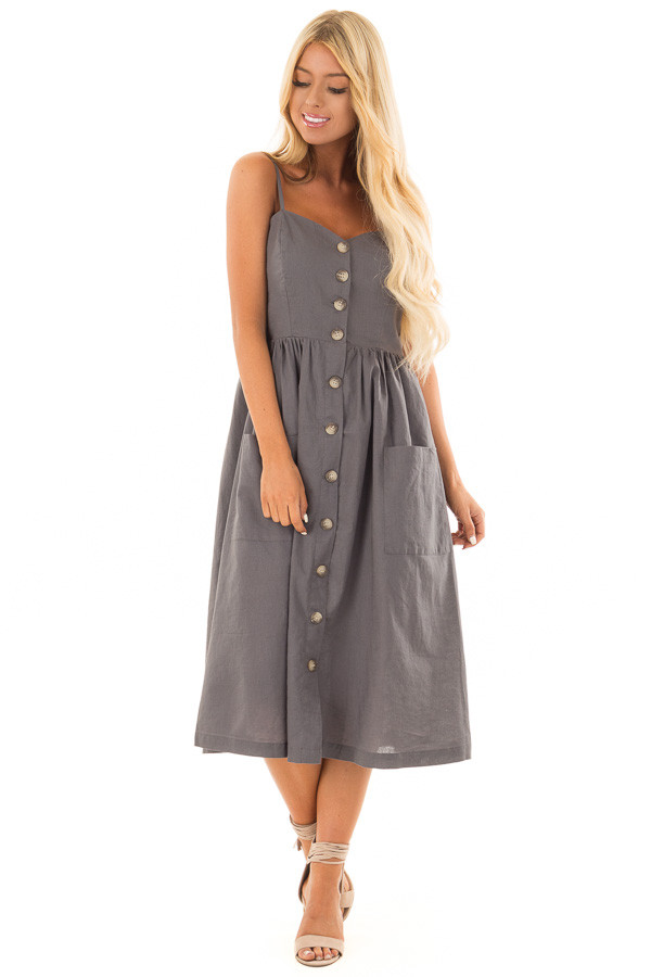 Slate Sleeveless Button Up Dress with Sweetheart Neckline front full body