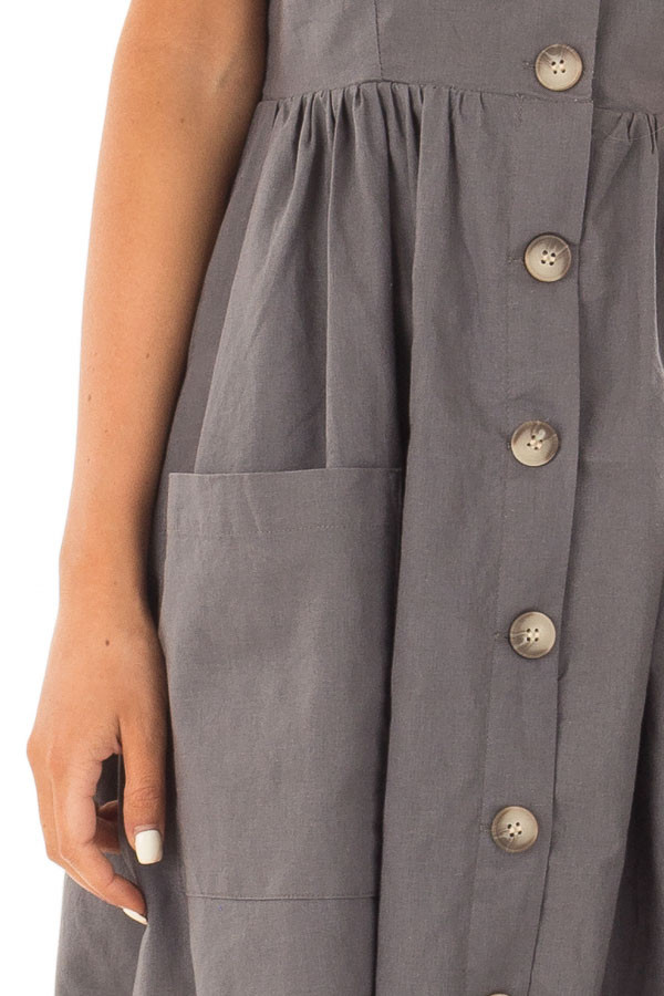Slate Sleeveless Button Up Dress with Sweetheart Neckline detail