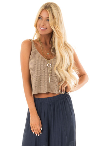 Mocha Thick Knit V Neck Cropped Tank Top front close up