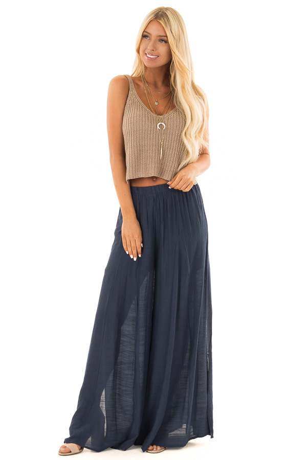 Mocha Thick Knit V Neck Cropped Tank Top front full body