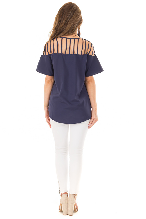 Navy Off the Shoulder Top with Caged Neckline back full body
