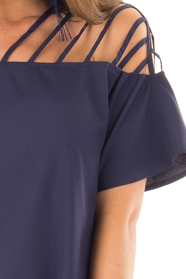 Navy Off the Shoulder Top with Caged Neckline detail