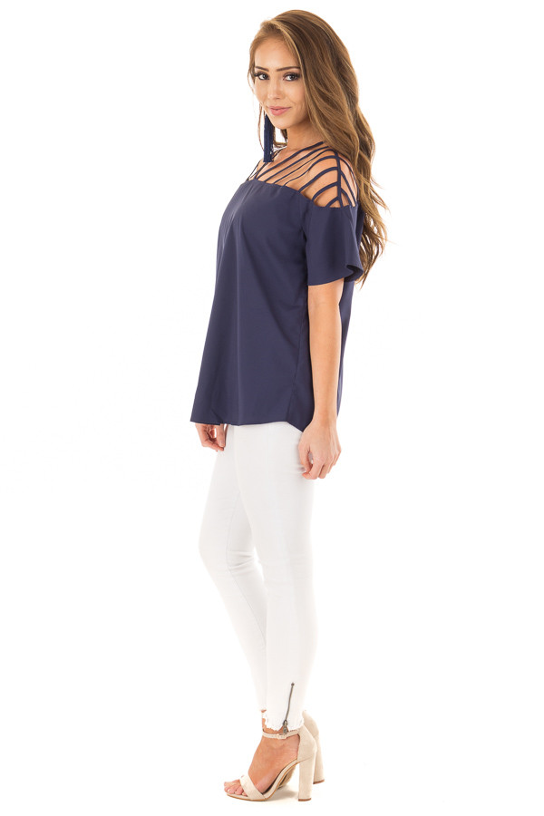 Navy Off the Shoulder Top with Caged Neckline side full body