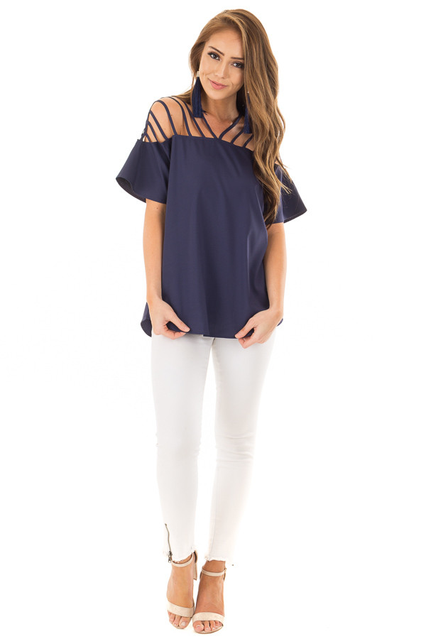 Navy Off the Shoulder Top with Caged Neckline front full body