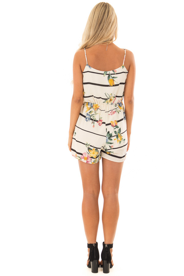 Cream Floral and Striped Sleeveless Romper back full body
