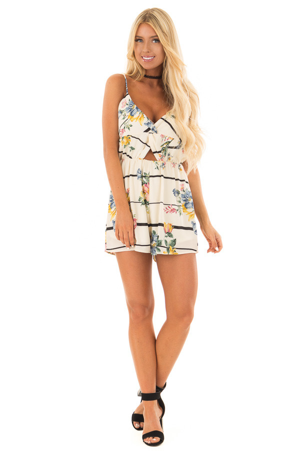 Cream Floral and Striped Sleeveless Romper front full body