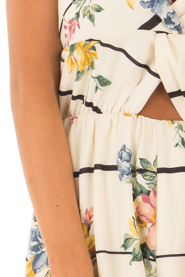 Cream Floral and Striped Sleeveless Romper detail