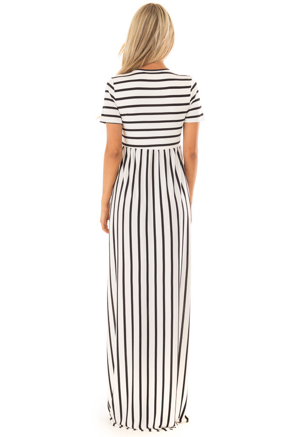White and Black Striped Maxi Dress with Pockets back full body