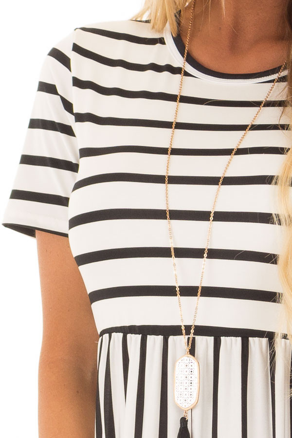 White and Black Striped Maxi Dress with Pockets detail