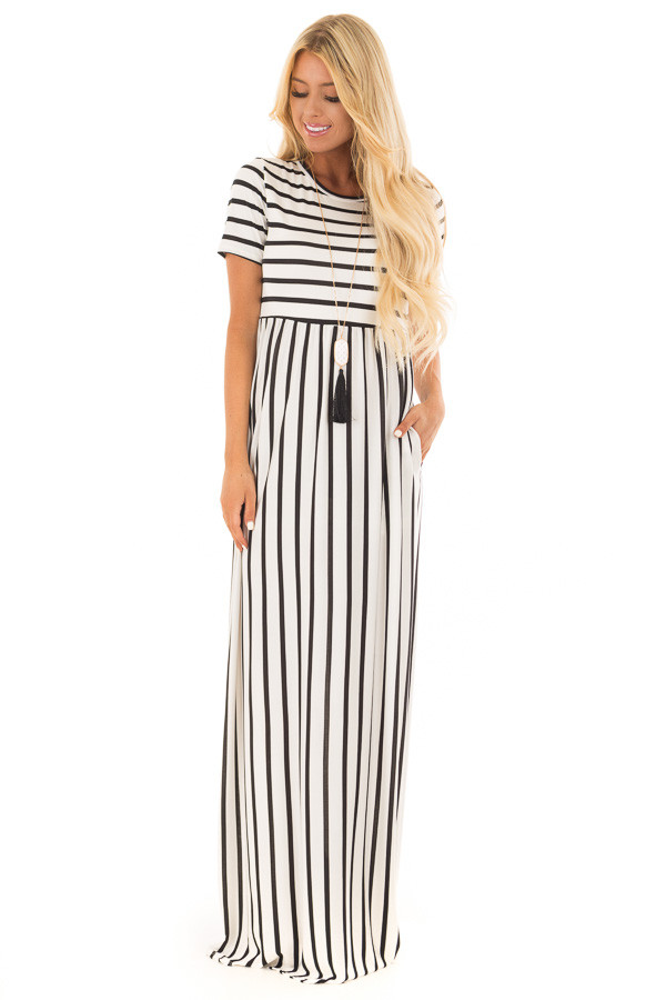 White and Black Striped Maxi Dress with Pockets front full body