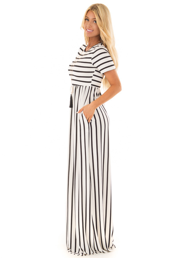 White and Black Striped Maxi Dress with Pockets side full body