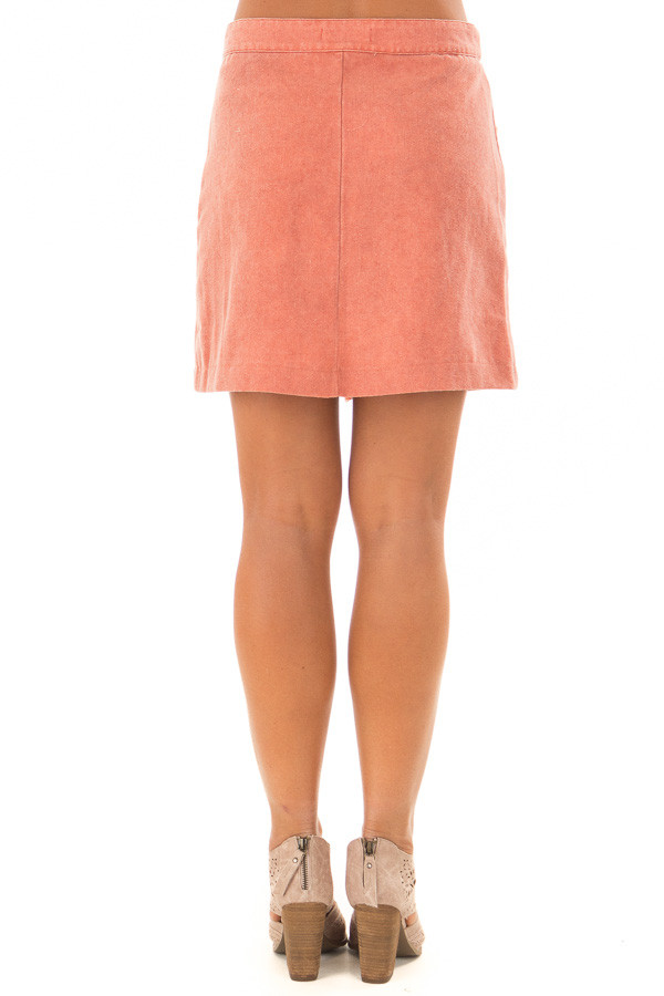 Sunset Orange Button Down Skirt with Pockets back view