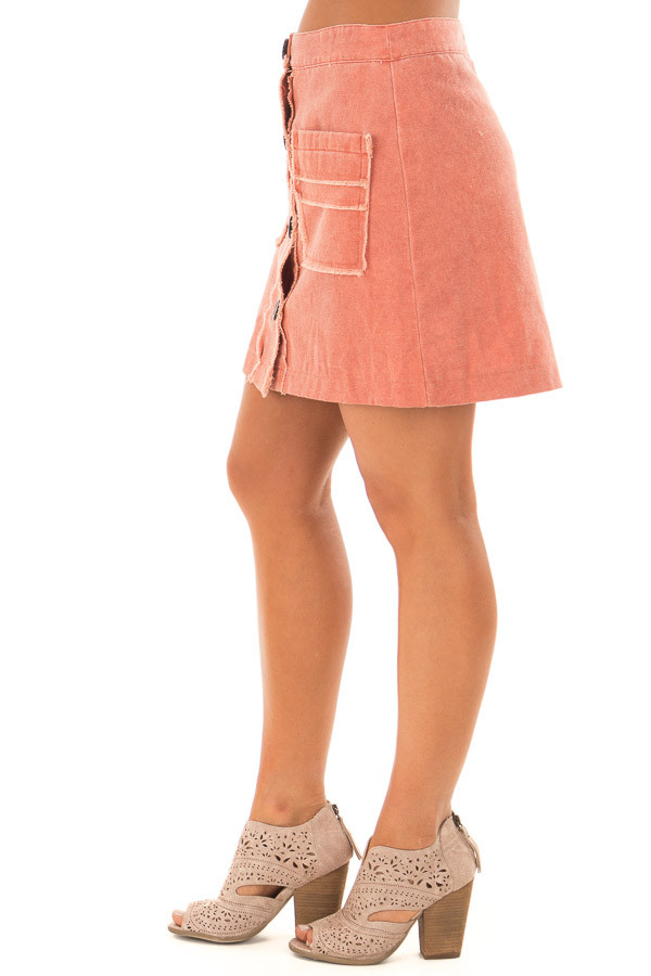 Sunset Orange Button Down Skirt with Pockets side view