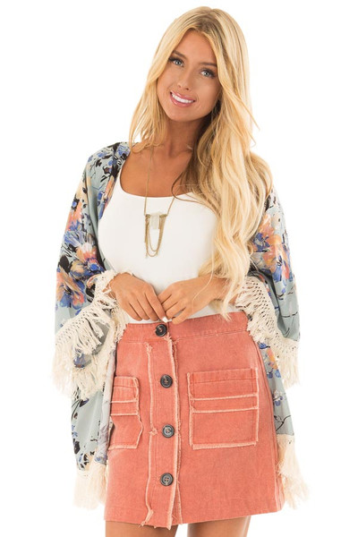 Sunset Orange Button Down Skirt with Pockets front close up