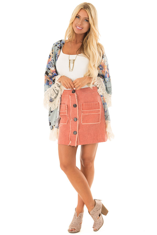 Sunset Orange Button Down Skirt with Pockets front full body
