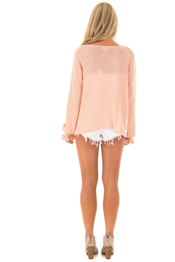 Peach 'It's Cool to Be Kind' Lightweight Sweater back full body