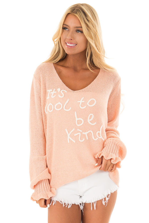 Peach 'It's Cool to Be Kind' Lightweight Sweater front close up