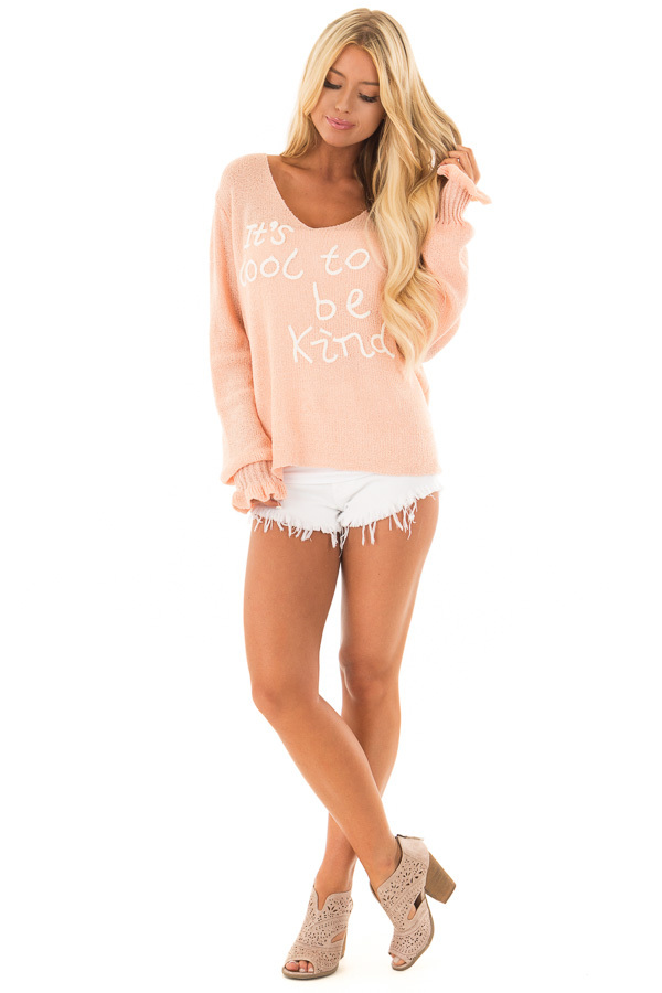 Peach 'It's Cool to Be Kind' Lightweight Sweater front full body
