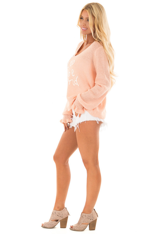 Peach 'It's Cool to Be Kind' Lightweight Sweater side full body