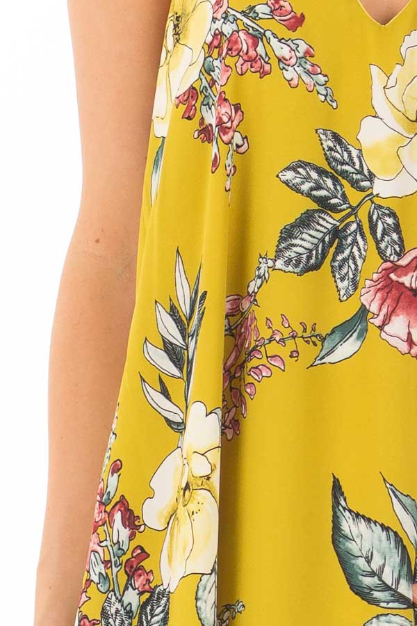 Pear Green Floral Print Swing Dress with Side Pockets detail