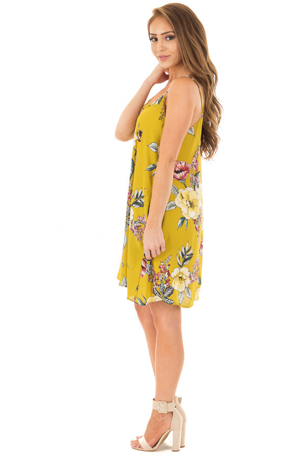 Pear Green Floral Print Swing Dress with Side Pockets side full body