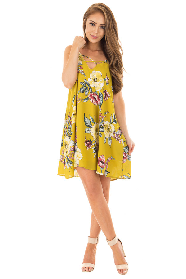 Pear Green Floral Print Swing Dress with Side Pockets front full body
