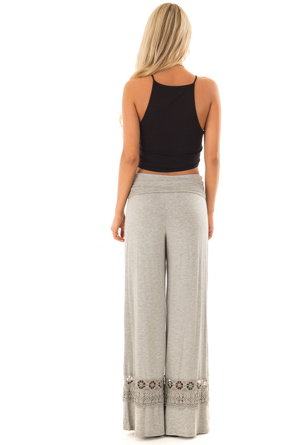 Heather Grey Pants with Sheer Crochet Details back full body