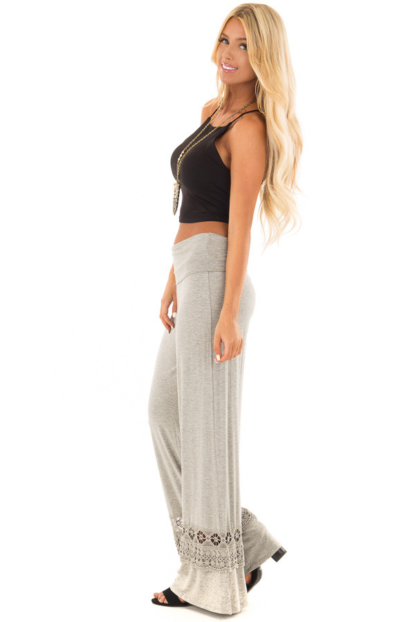 Heather Grey Pants with Sheer Crochet Details side full body